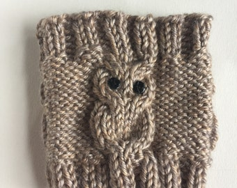 Knit Owl Cup Cozy, Coffee Cup Cozy, Mug Sleeve, Ready to Ship