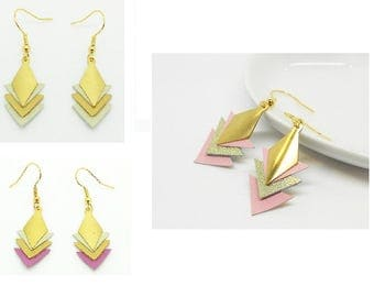 Earrings Golden leather triangles tie plated gold, various colors