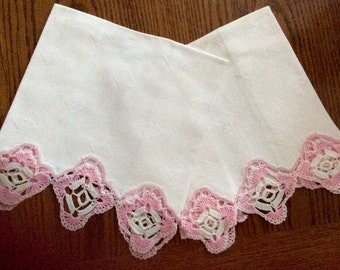 Pair Vintage Damask Towels Pink and White Crochet Edging