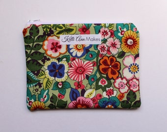 coin purse, small pouch, wallet, floral pouch, purse organizer, id pouch, floral pouch