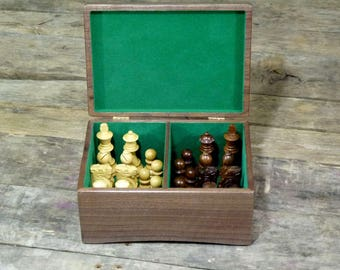 Walnut box for chess pieces | Storage box for chess pieces