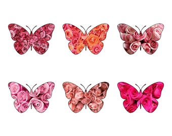 12 Gorgeous Pink Rose Patterned Butterfly Edible Wafer Paper Cupcake Cake Toppers