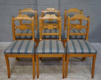 Vintage Set of 6 Birch Beidermeier Dining Chairs