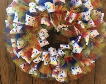 Happy Birthday Ribbon Wreath