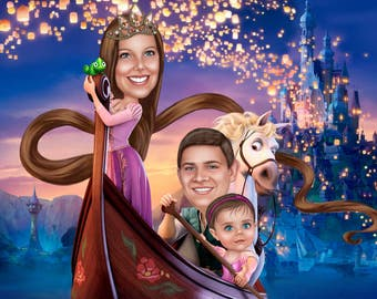 Family Portrait in Disney style