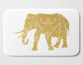 Bath Mat Gold Elephant Mandala India Indian Boho Bohemian Design Bath Rug Home Decor