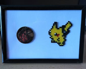 Pokemon Pikachu Frame with Pikachu Trading Card Game Coin