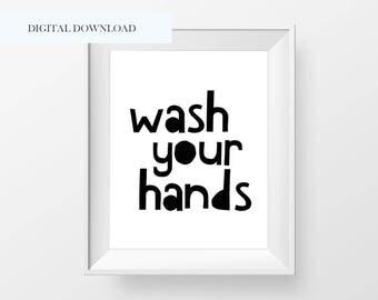 Wash Your Hands Bathroom Printable Kids Bathroom Wall Art Kids Washroom Wall Print