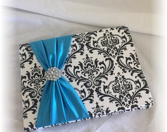 Black and White Madison Damask with Turquoise Wedding Guest Book, Damask Guest Book, Madison Guest Book, Turquoise Guest Book