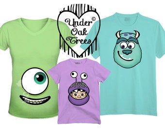 Family Monsters Inc Mike Sully and Boo T shirt Transfer Image also for Maternity - Instant Download - Printable - for Costume or Disney Trip