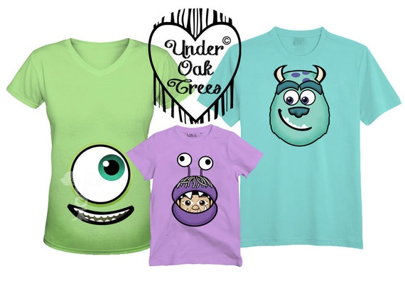 Family monsters inc mike sully and boo t shirt transfer image for T shirt design maker software free download full version