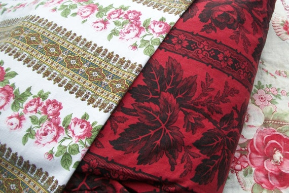 La Vie en rose  bundle of pretty Vintage French Fabric Rose ticking material