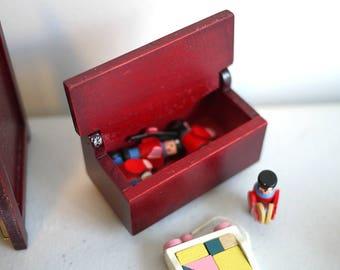 Miniature Dollhouse Toys Box, Dollhouse Toys Box, Miniature Toys Box, Mini Wood Toys Box