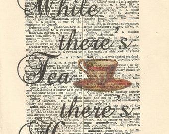Alice in wonderland vintage print it's always tea time teacups