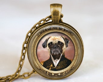 Steampunk Pug Dog - Handmade Pendant Necklace