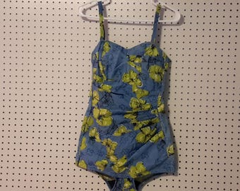 """Vintage Famous Maker  Swimsuit  Back Zip  Blue with Green floral """"NO TAGS"""""""