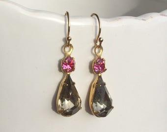 Vintage Style Earrings, Pink & Topaz Teardrops, Gold Filled Earrings, Vintage Glasqs, 1950s, Bridal Earrings, Crystal Earrings, Smokey, UK