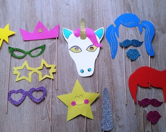 "Accessories photobooth x 14 ""Unicorn and glitter"""