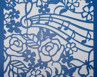 Rose and Music Stencil