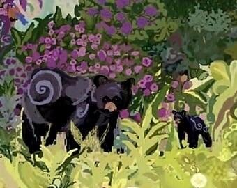 "Print from original watercolor: ""Bear Encounter"", Landscape, Art Collectible, Wall art, Paintings, Wildlife, Conservation, Black Bear, Art"