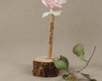 PERSONALISED Handmade Wooden WEDDING PEN Unique Guestbook Pen Holder Rustic