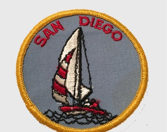 Vintage San Diego Patch - Sail Boat, Sailing (Iron on)