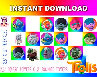 TROLLS TOPPERS, Trolls Party Decoration, Instant Download, Trolls Party Supplies, Trolls Birthday, Trolls Decoration