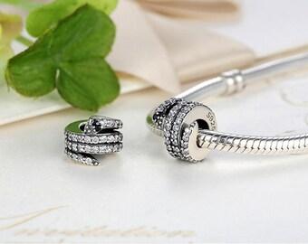 Sterling 925 silver charm the snake bead pendant fits Pandora charm and European charm bracelet