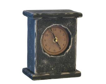 Primitive Handcrafted Wooden Desk Clock