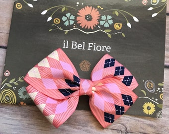 Coral Pink Bow Hair Clip, Hair Barrette, Baby Infant Child Toddler Girl Hair Clip, Hair Flower, Clip On Bow, Bow Hair Clip