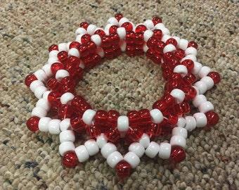 Red White 3D kandi cuff bracelet