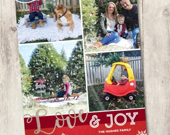 Printable photo Christmas card, Love and JOY printable family holiday card with 4 photos, personalized, red watercolor texture and glitter