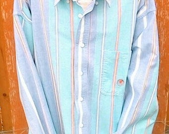 90s Vintage 20 X Brand Pastel Vertical Stripes Button Up Size Large