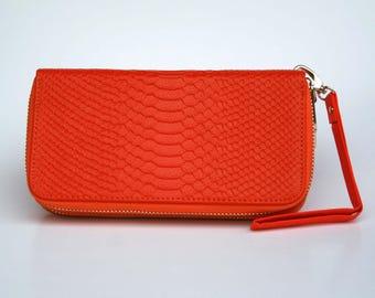 Womens Wallet, Leather Wallet, Orange Wallet,  Orange Purse