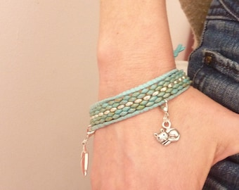 Turquoise Picasso and silver wrap bracelet