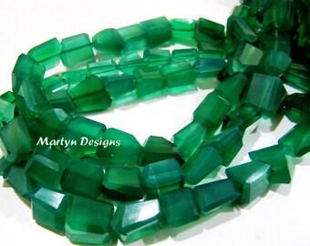Beautiful Green Onyx Nagget Shape Beads , Laser Cut Green Chalcedony Beads 10 to 12mm , Strand 10 inch long , Semi Precious Gemstone Beads.