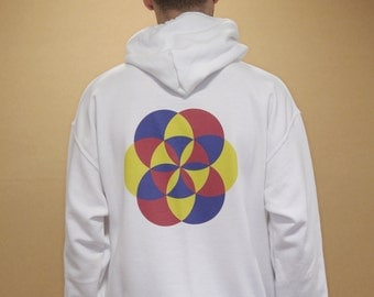 Oversized White Hoodie With 90s Geometric Kaleidoscope Souvenir Graphic Vintage Streetwear 1015Front 1015Back