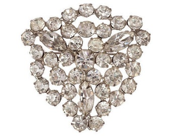 Shield-Motif Rhinestone Pin