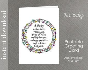 Baby Card Printable, baby shower card, baby congratulation, expecting baby card, baby quote card, baby shower, baby girl card, baby boy card