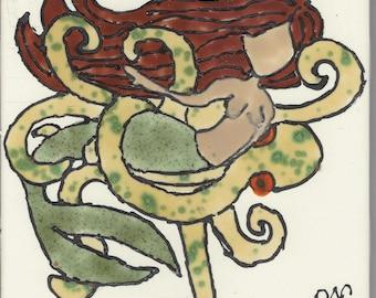 Mermaid #222 Hand Painted Kiln Fired Decorative Ceramic Wall Art Tile 6 x 6