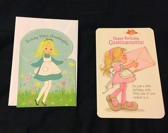 2 Vintage 1960's Granddaughter Birthday Cards - Unused - American Greeting & Buzza