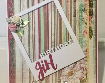 Handmade birthday card for girl/woman
