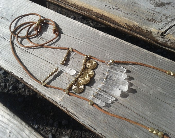 Talisman quartz necklace, with brass beads and leather cord, necklace with 10 crystal quartz tips, adjustable in height, without nickel,