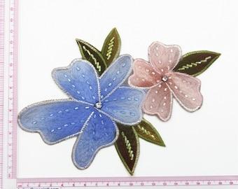 Floral Applique,Winter Dress Applique ,Bead Cashmere Patch ,Rhinestone Flower Patch ,Bead Flower Applique