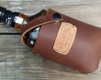 Leather Whiskey Bourbon Holster Holder with Free Personalization Perfect Christmas Gift Father's Day, Tailgating, Handmade in the USA