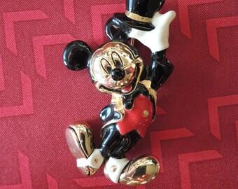 Mickey Mouse Brooch Gold Tone Enamel Signed Disney Napier