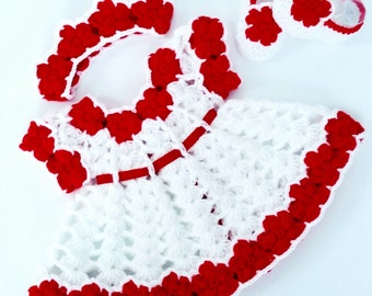 Baby crochet pattern, Baby dress Pattern, Crochet shoes, Crochet headband, PDF CROCHET PATTERN, Baby shower, Baby Christmas dress, baby gift