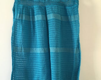 Tradicional Mexican Turquoise Blouse of Loom