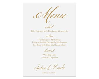 Wedding Reception Menu Cards - 5x7 or 4 by 9.25 | Printed | The Ella Wedding Collection