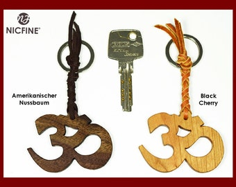 Key chain Om made of fine wood